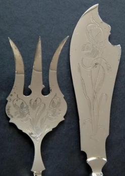Art Nouveau serving cutlery - fork and knife